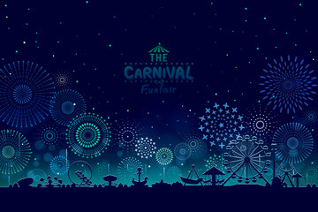 Vector illustration of the carnival funfair design with fireworks background.