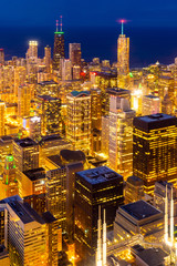Wall Mural - aerial view of Chicago Skylines night