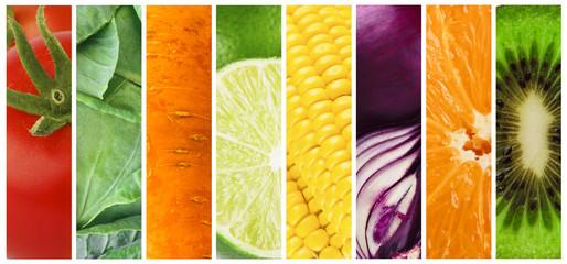 Set of ripe fruits and vegetables, summer harvest