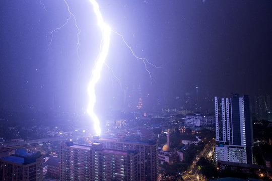 lightning strike over the city
