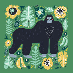 Gorilla flat hand drawn illustration