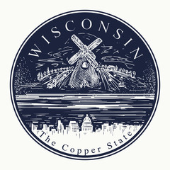 Wisconsin. Tattoo and t-shirt design. Welcome to Wisconsin, (USA). The copper state slogan. Travel art concept