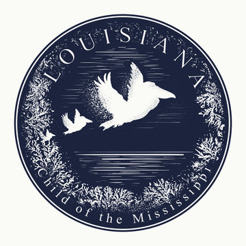 Louisiana. Tattoo and t-shirt design. Welcome to state of Louisiana, (USA). Child of the Mississippi slogan. Travel art concept