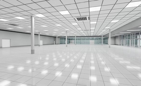 Interior empty supermarket. 3d illustrations