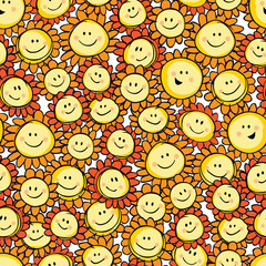 Vector yellow hand drawn sunflower cartoon repeat pattern. Suitable for gift wrap, textile and wallpaper.