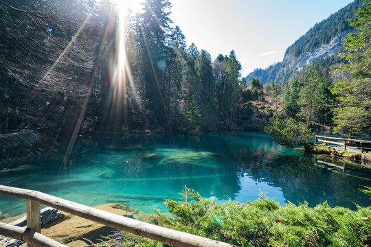 Blue lake, Blausee, in Bernese Oberland, Switzerland