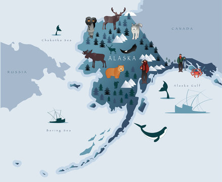 Map of Alaska with animals, eskimos, forests, mountains, hunters, boats, fish and fishermen