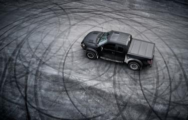big American pickup truck after drifting