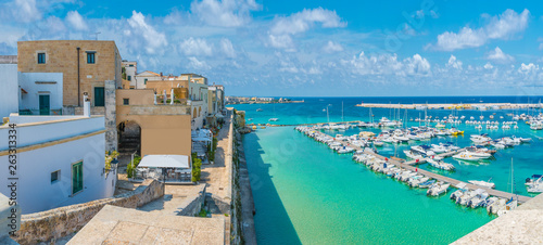 Wall mural Panoramic view of Otranto town and harbor, province of Lecce, Puglia (Apulia), Italy