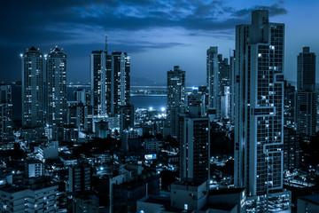modern city skyline at night - skyscraper   cityscape   - Fototapete