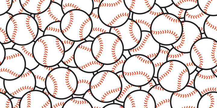 baseball Seamless pattern vector soft ball tennis sport scarf isolated tile background repeat wallpaper