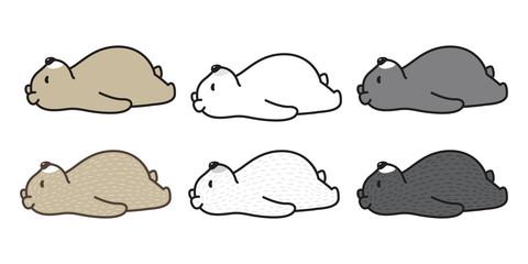 bear vector polar bear sleeping logo icon cartoon illustration character doodle