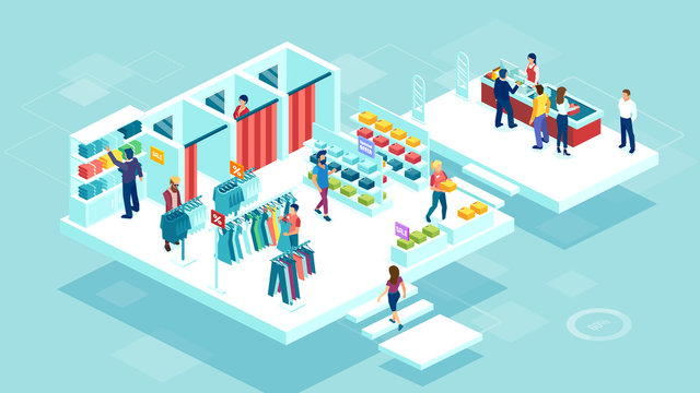 vector of people men and women shopping together at the shopping mall buying clothing