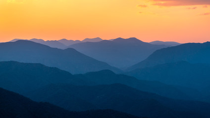 Sunset over mountains in South Mexico Wall mural