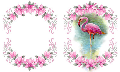 Hand drawn painting watercolor pencils and paints pink magnolia flowers frame and flamingo isolated on white background
