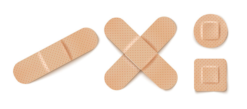 Vector set illustrations of band aids