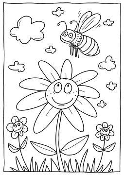 Biene und Blume – Ausmalbild