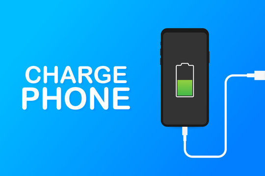 Smartphone charger adapter and electric socket, low battery notification. Vector illustration.