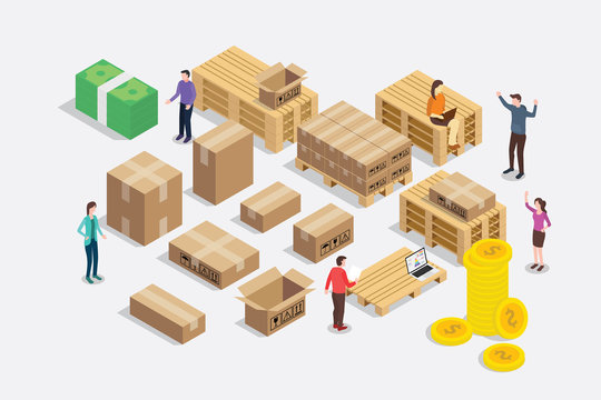 shipping shipment business concept with team people and delivery rack goods package - vector