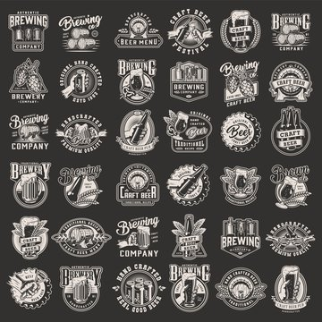 Vintage monochrome brewery prints set