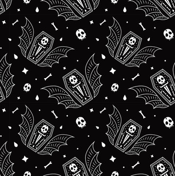 Skull coffin vampire seamless pattern black background