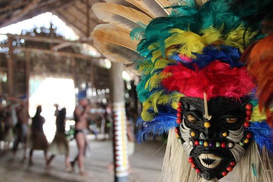 Mask; indian; Amazon; costume; tribe