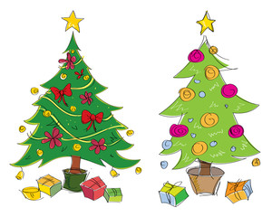 Vector colourful hand drawn christmas trees illustration. Suitable for greeting cards.