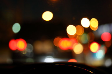 Fotomurales - car driving on night road city, blur light traffic background