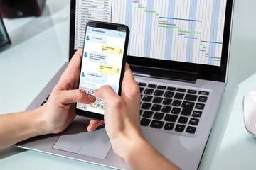 Human Chatting On Smart Phone