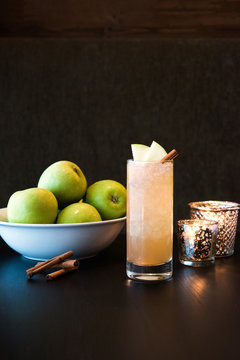 Artisan cocktail with green apples