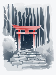 Torii Gate in the Forest vector drawing in traditional Japanese style sumi-e. Illustration.