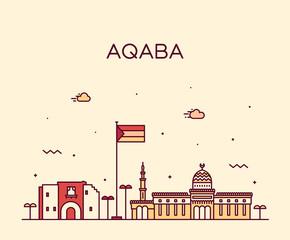 Fototapete - Aqaba skyline Sudan vector big city linear style