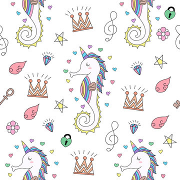 Seamless pattern cute unicorn cartoon hand drawn style.vector and illustration