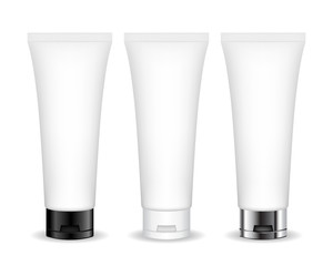 Cosmetic tube for cream, gel, liquid, foam. Beauty product package, vector illustration.