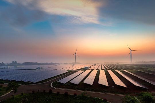 Before sunrise solar power plants