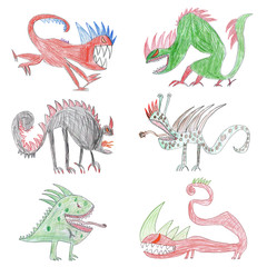 Child's drawing with monsters. Creature collection set isolated on white background. Concept of children creativity.
