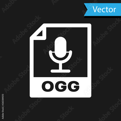 White OGG file document icon  Download ogg button icon isolated on