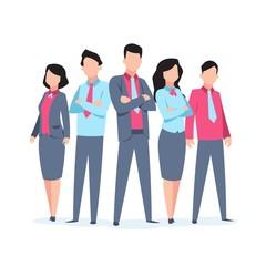 Business characters team work. Office people corporate employee cartoon teamwork communication. Flat business team vector illustration