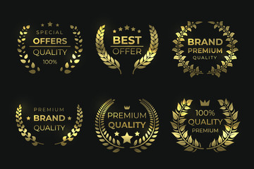 Laurel quality labels. Golden luxury badge, sale foliage wreath with text, high quality guaranteed elements. Vector sale laurels greek wreaths