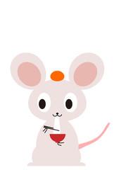 かわいいネズミの年賀状イラスト素材