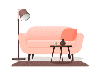 Interior living room with a sofa, a coffee table, a floor lamp and a carpet on a white background