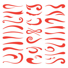 Underline swooshes. Swish brush emphasis, hand drawn marker stroke, doodle swash highlight. Vector декоративные font and lettering accent set