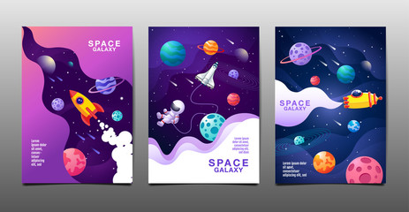 set of banner templates. universe. space. space galaxy, design. vector illustration