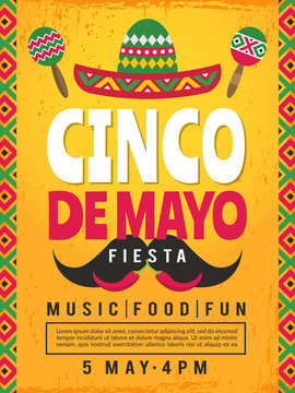 Poster of mexican fiesta. Design template of party invitation. Vector mexican fiesta, cinco de mayo card illustration
