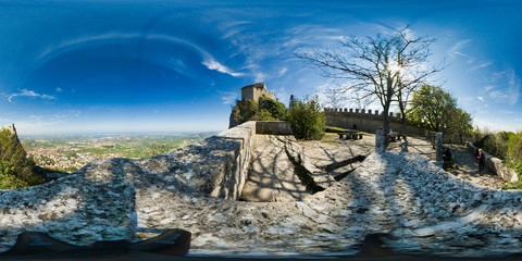 Overview of  ancient Towers in San Marino, Italy