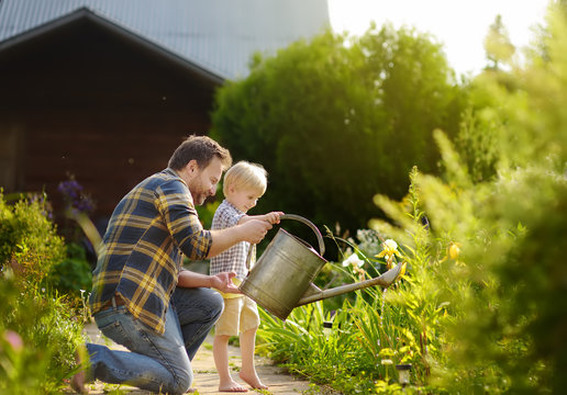 Middle age man and his little son watering flowers in the garden at summer sunny day
