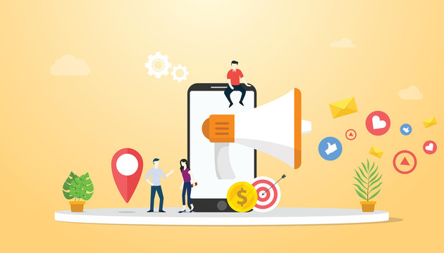 mobile marketing concept with smartphone and social media icon business - vector