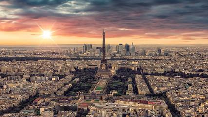 Fototapete - Paris cityscape sunet viewed from Montparnasse tower