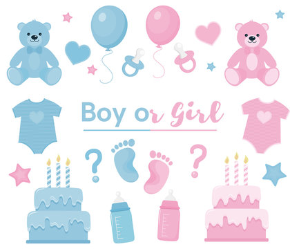 Gender reveal clipart. Blue and pink colors