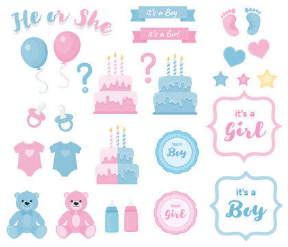 Gender reveal clipart with banners and frames.Blue and pink colors